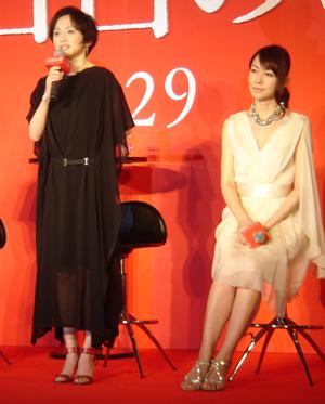 『八日目の蝉』記者会見での永作博美、森口瑤子