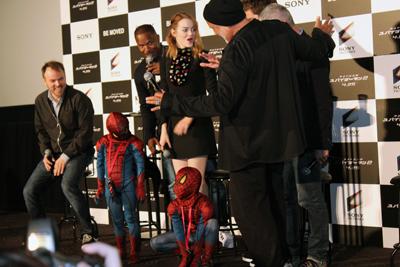 映画『アメイジング・スパイダーマン2』来日会見、アンドリュー・ガーフィールド、エマ・ストーン、ジェイミー・フォックス、マーク・ウェブ監督、製作アヴィ・アラド、製作マット・トルマック