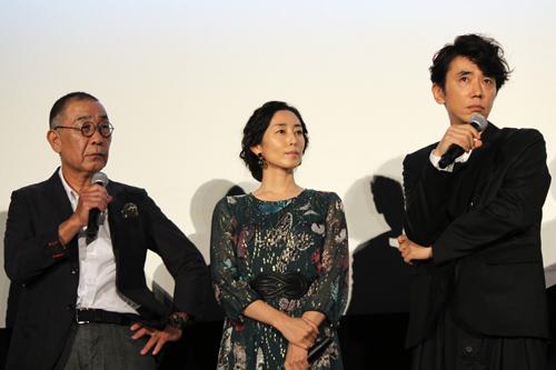映画『あゝ、荒野』完成披露舞台挨拶、でんでん、木村多江、ユースケ・サンタマリア