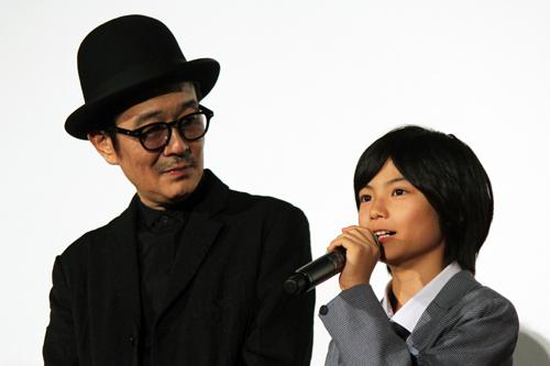 映画『万引き家族』公開記念舞台挨拶、リリー・フランキー、城 桧吏(子役)