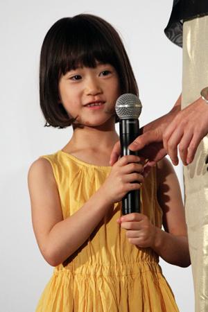 映画『万引き家族』公開記念舞台挨拶、佐々木みゆ